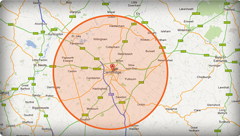 Map showing areas covered by Cambridge Van Man